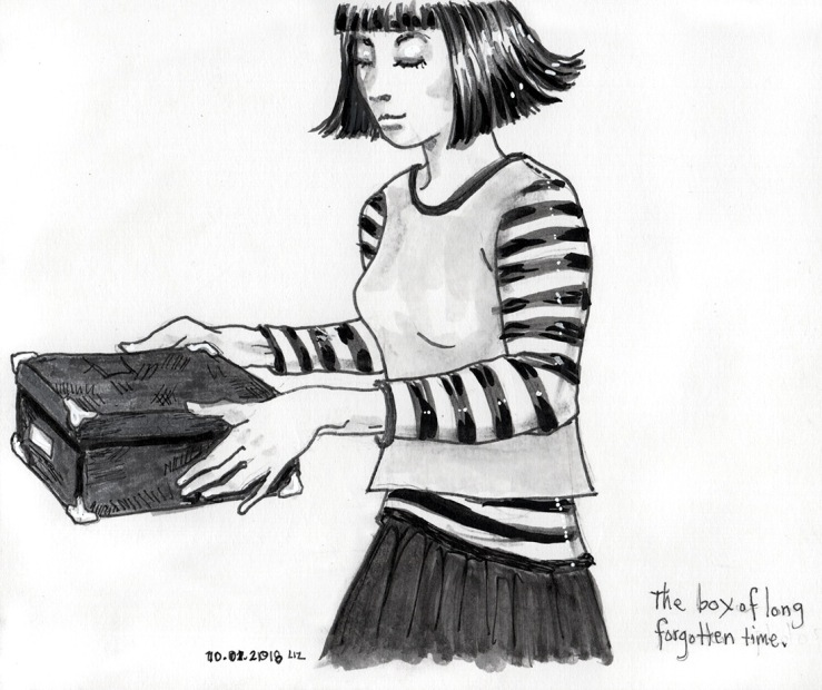 Ink drawing of a woman carrying a box