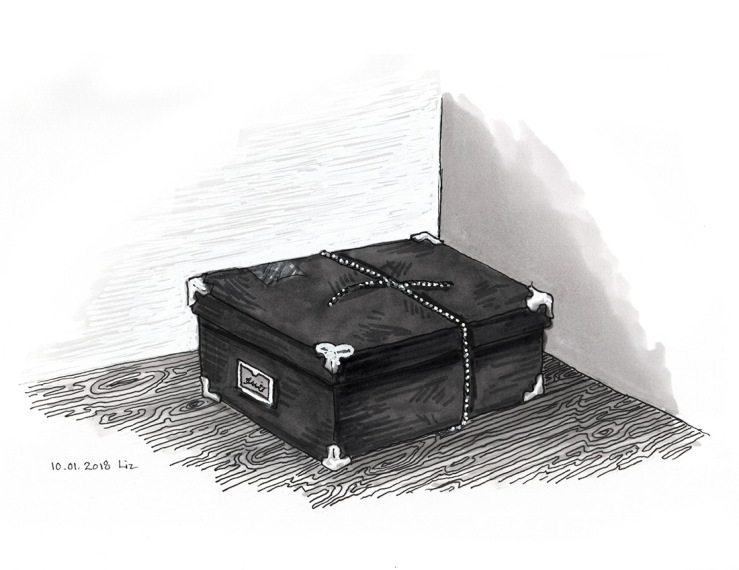 Inktober: ink drawing of a box tied with twine
