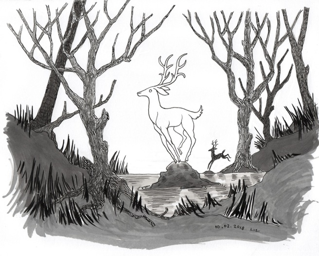 Inktober day 3: drawing of some deer in a swamp