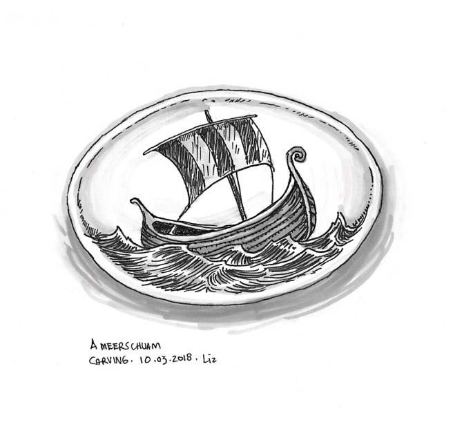drawing of a ship carved into meerschaum stone