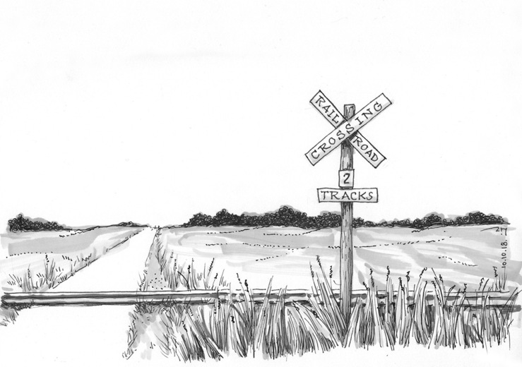 ink drawing of a railroad crossing