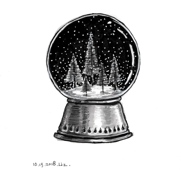 drawing of a snow globe with trees
