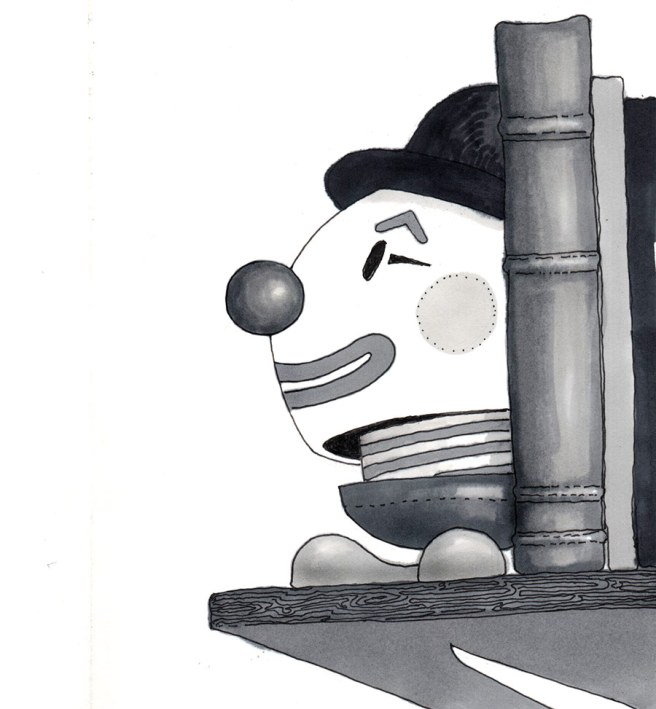 Ink drawing of a clown toy as bookend