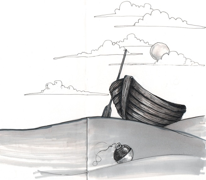 ink drawing of a dinghy