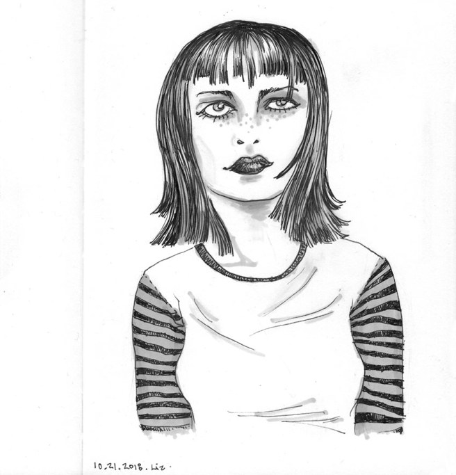 ink drawing of a freckled young woman