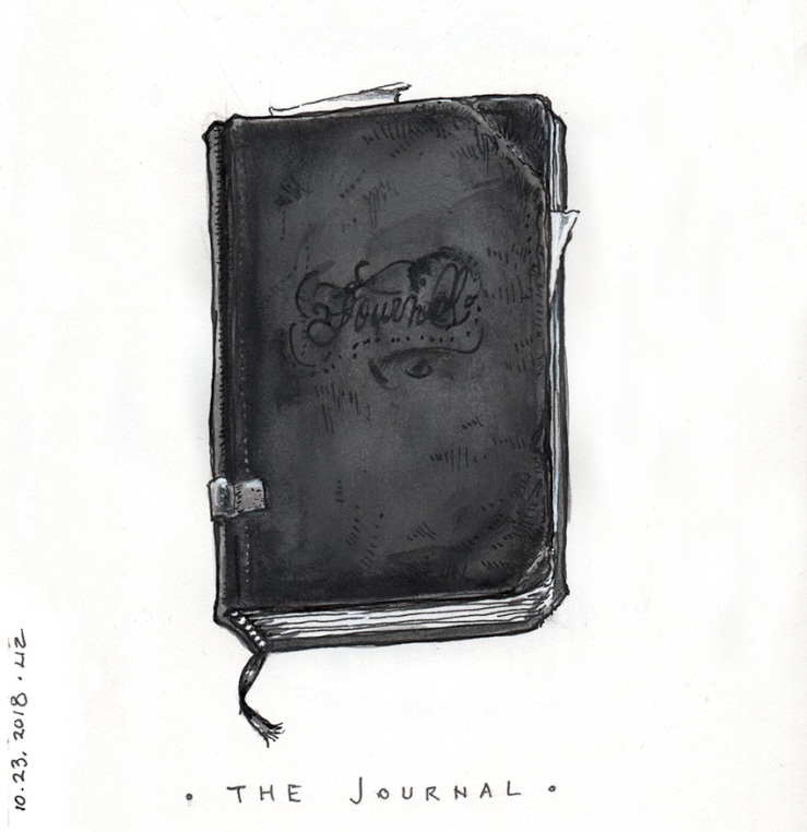 ink drawing of an old journal