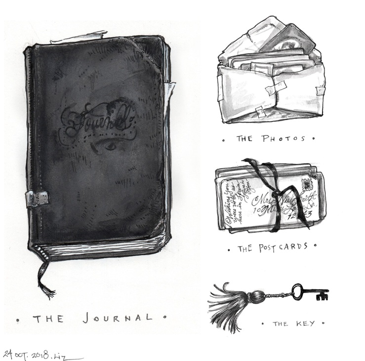ink drawing of a pile of ephemera and a key