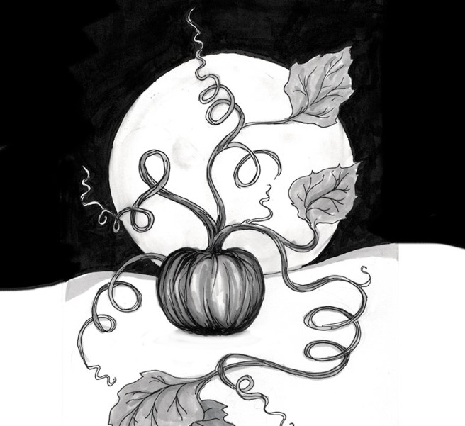 ink drawing of a pumpkin on a full moon night