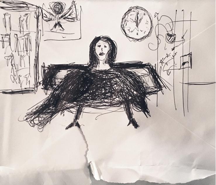 Zac's drawing of Liz