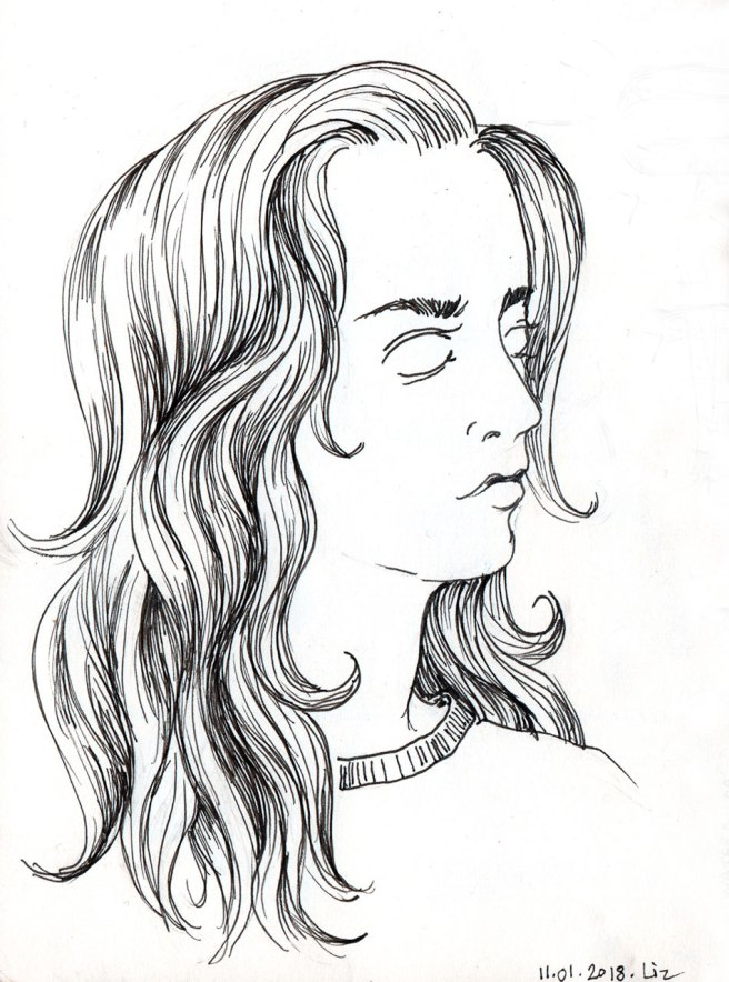 ink drawing of a woman with long hair