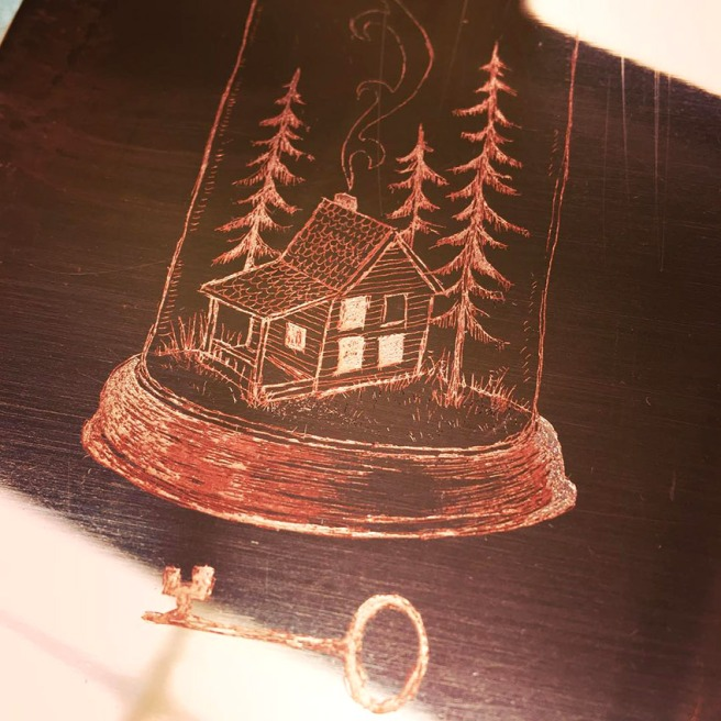 drawing worked into hard ground on a copper plate
