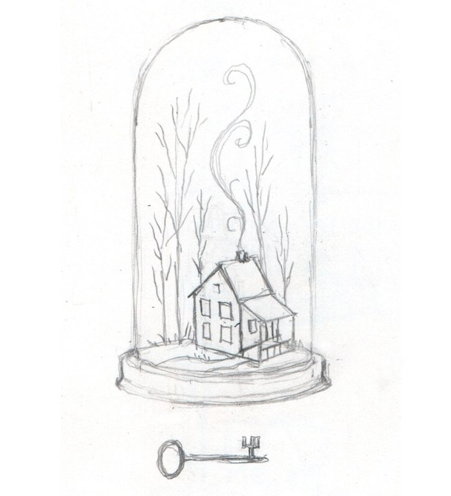 pencil sketch of a house in a bell jr