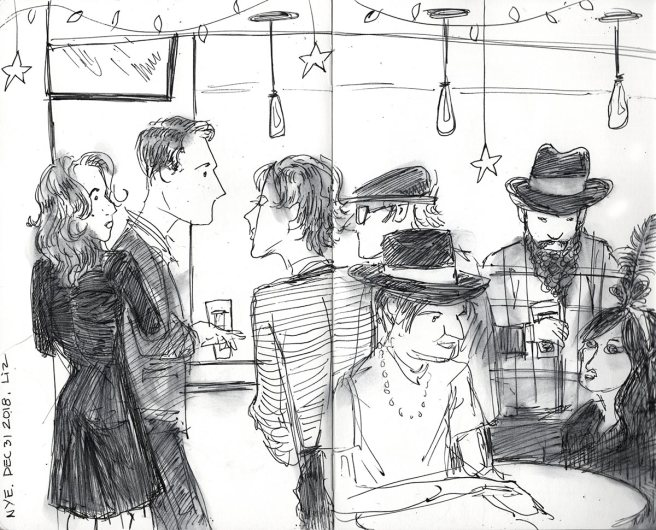 Ink sketch of people at the bar