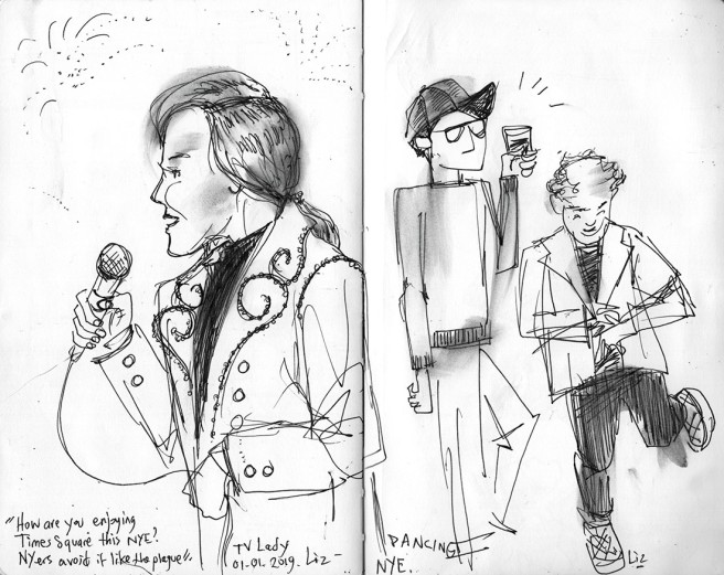 Left: sketch of a woman on tv interviewing revelers at Times Square. Right: two men dancing at the bar