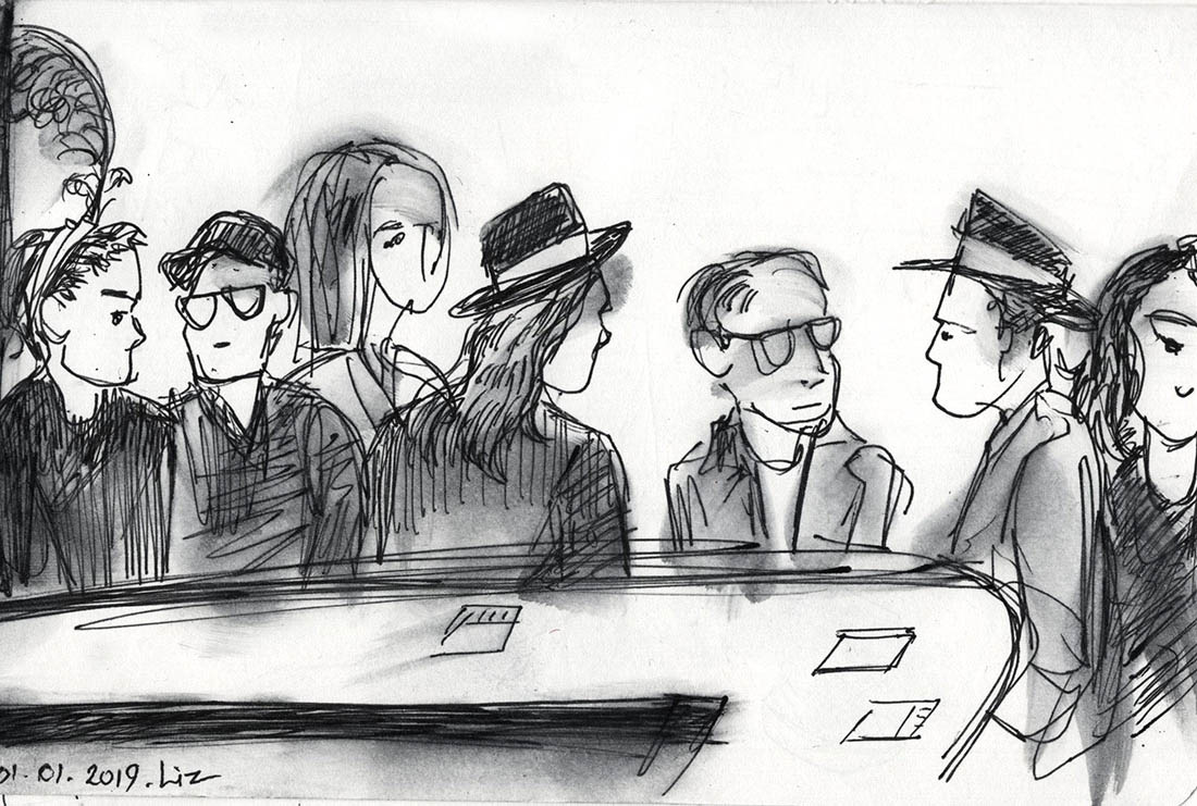 Ink sketch of people at the far end of the bar