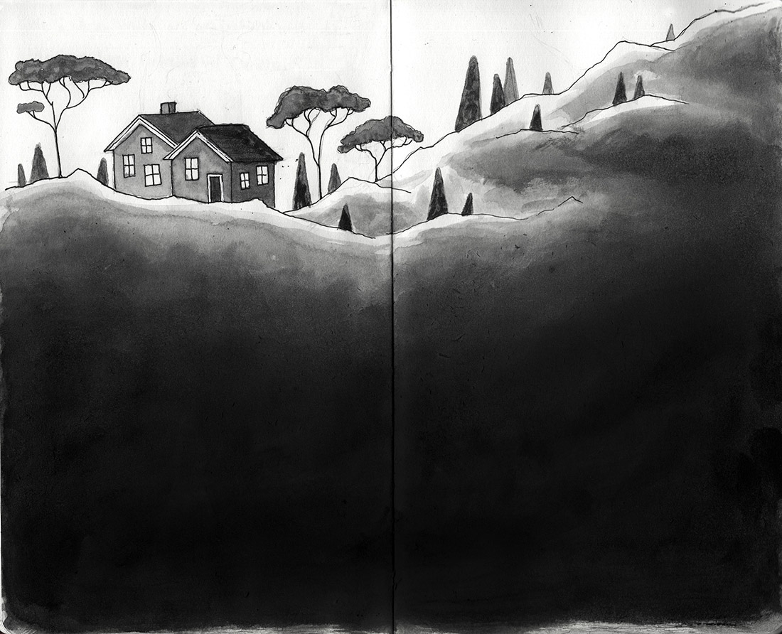 black and white watercolor sketch of some simple mountain cabins and pine trees