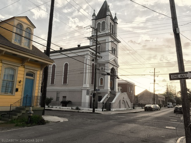 church and sunset in the Marigny, NOLA