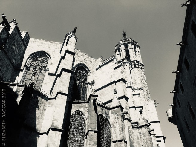 Barcelona cathedral in black and white