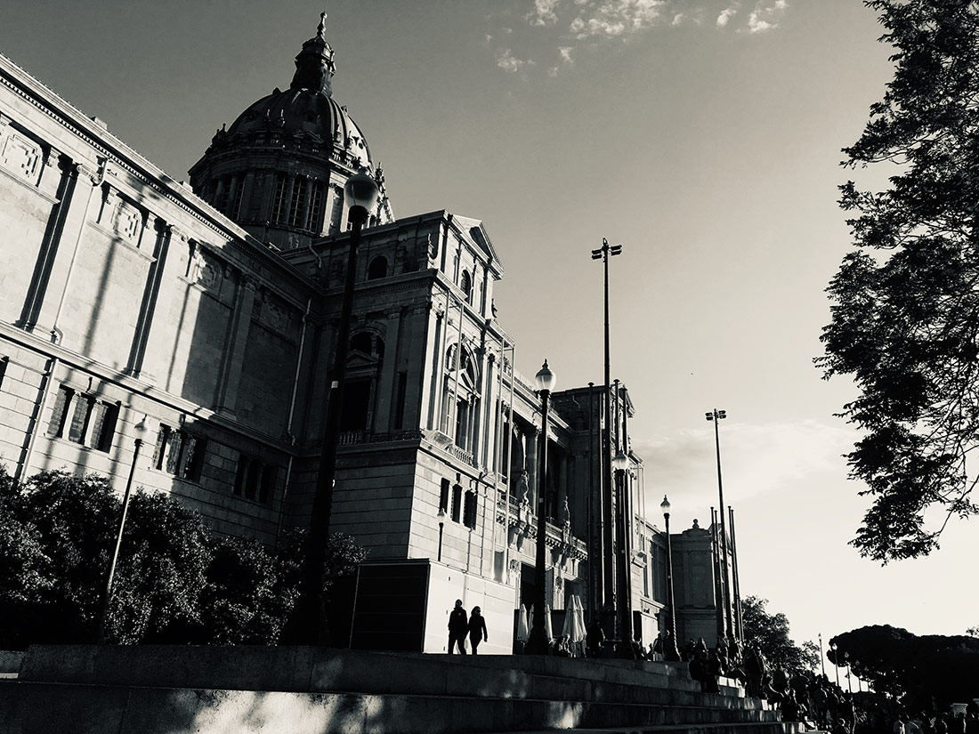 The Museu Nacional d'Art de Catalunya in early evening