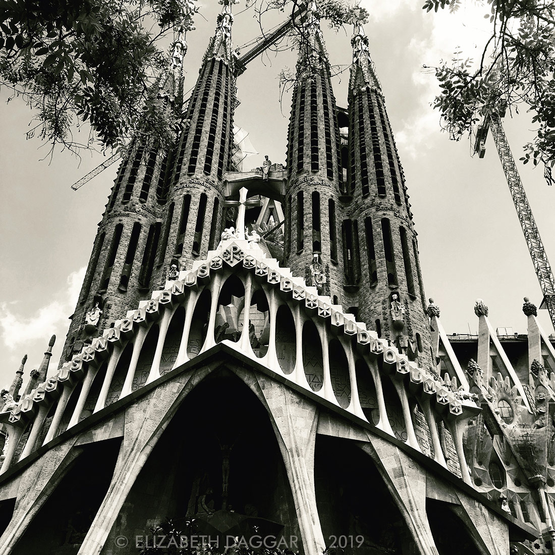 Gaudi's La Sagrada Familia façade in black and white