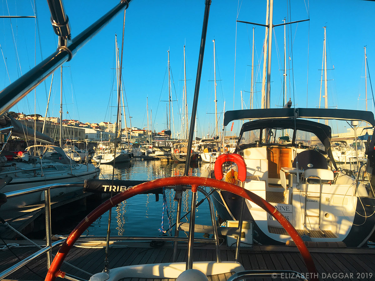 In one of Lisbon's marinas, bristling with masts of sailing vessels