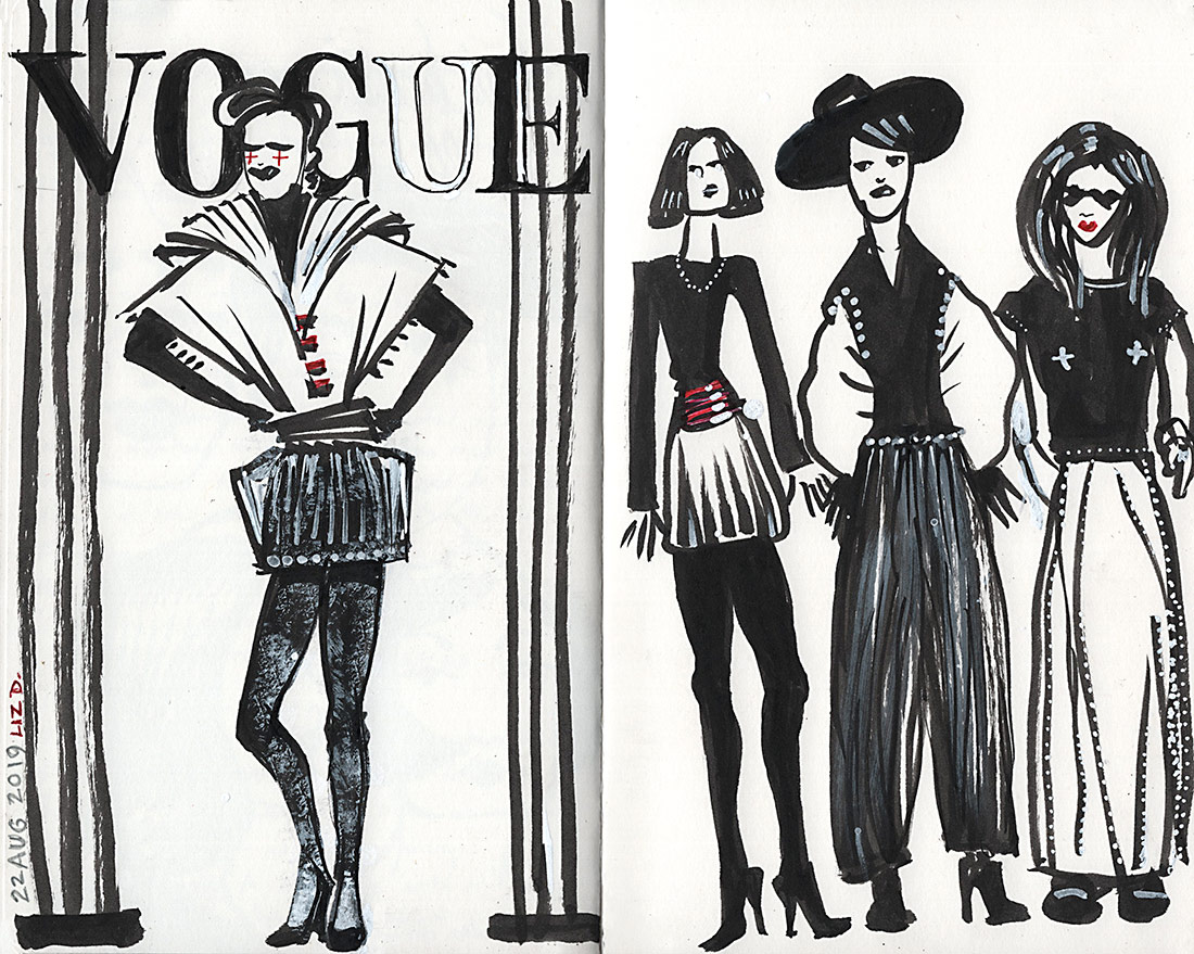 Sketch of some fashion type ladies, Vogue-style