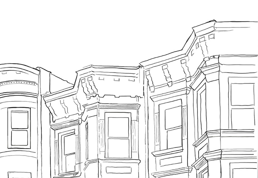 line drawing of the windows of a row of brownstones