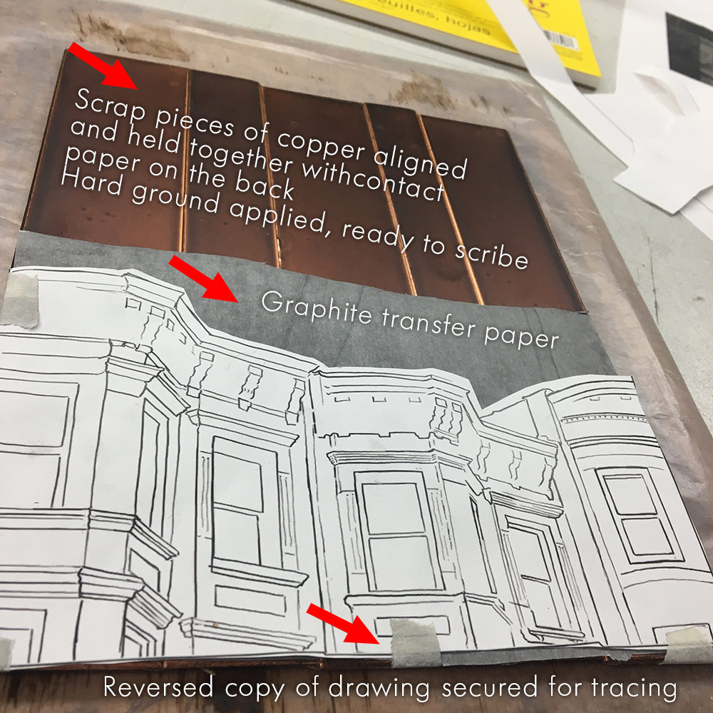 Photo showing the drawing taped to copper strips with graphite transfer paper in between