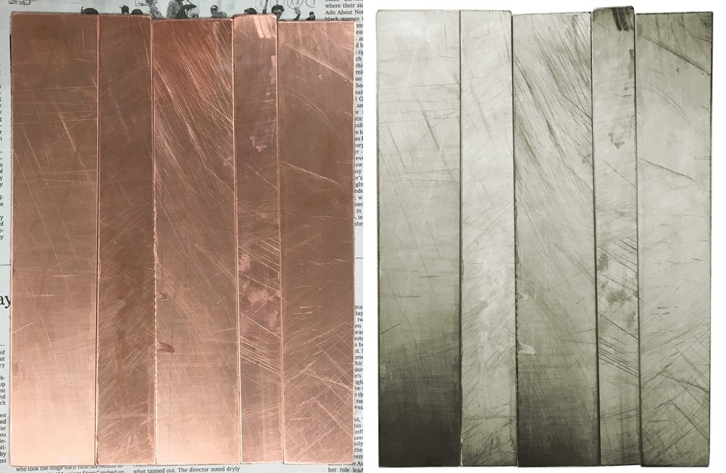 Side-by-side images of the copper strips, showing the many scratches and marks in the surface of the metal. The first if a normal photo; the second has been made into a negative to accentuate the marks