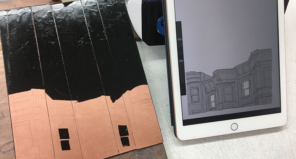 Image of an etching plate in progress, next to a reference image on iPad