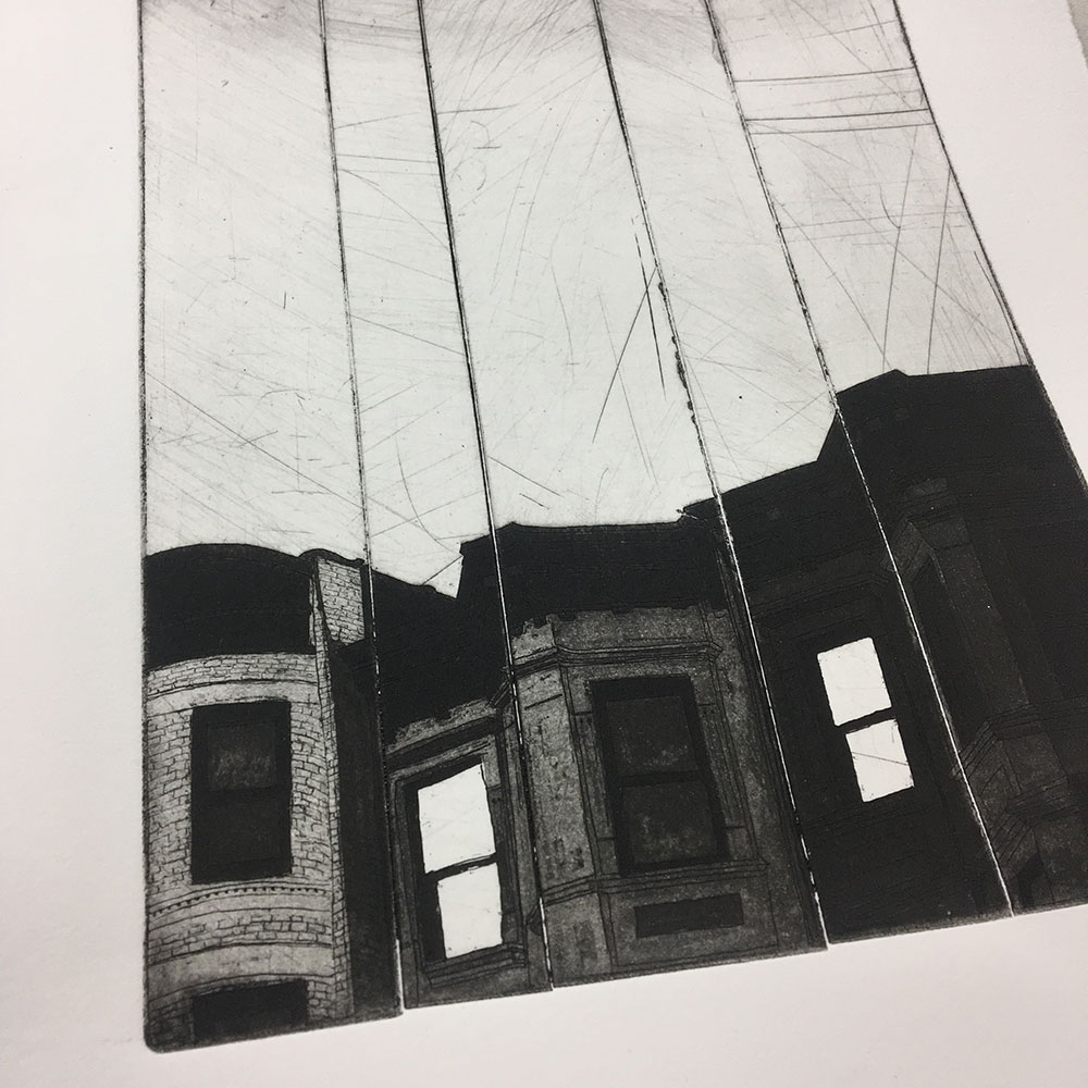 Close up image of a test-print of the aquatint after finishing the acid dips