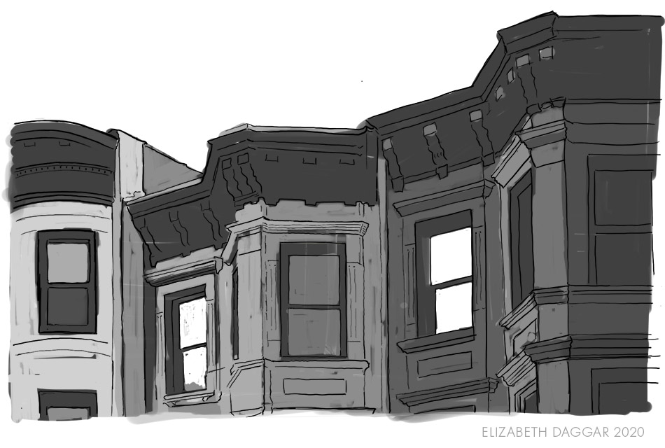 sketch of the tonal shades I will apply to the brownstones using aquatint