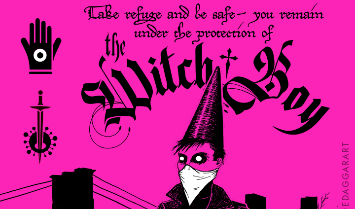 Portion of a talisman design featuring a drawing of the With-Boy, masked and carrying 70% isopropyl alcohol