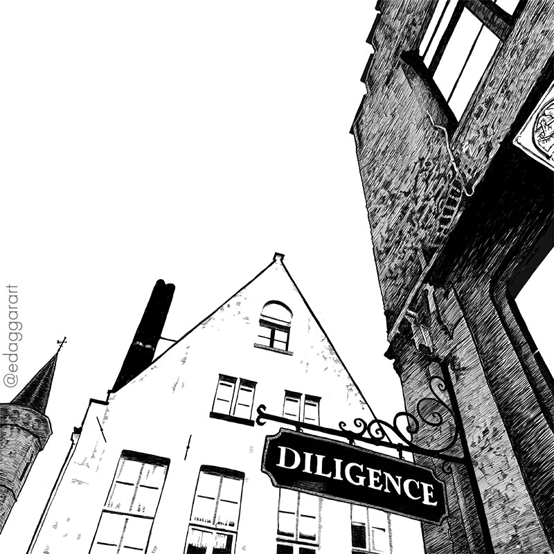 "Digital ink drawing of the juncture of two buildings in Brugge, with the restaurant's sign ""Diligence"""