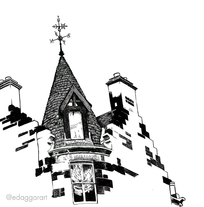 Digital ink drawing of a weathervane on top of a round tower, part of a sandstone building in Edinburgh