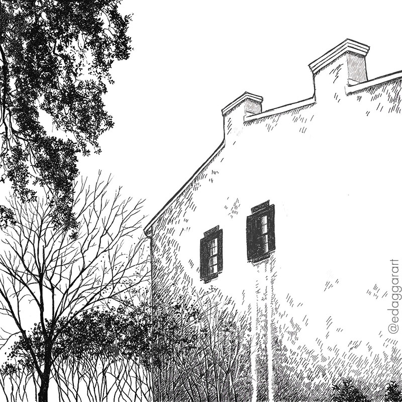 Digital ink drawing of an old house and trees