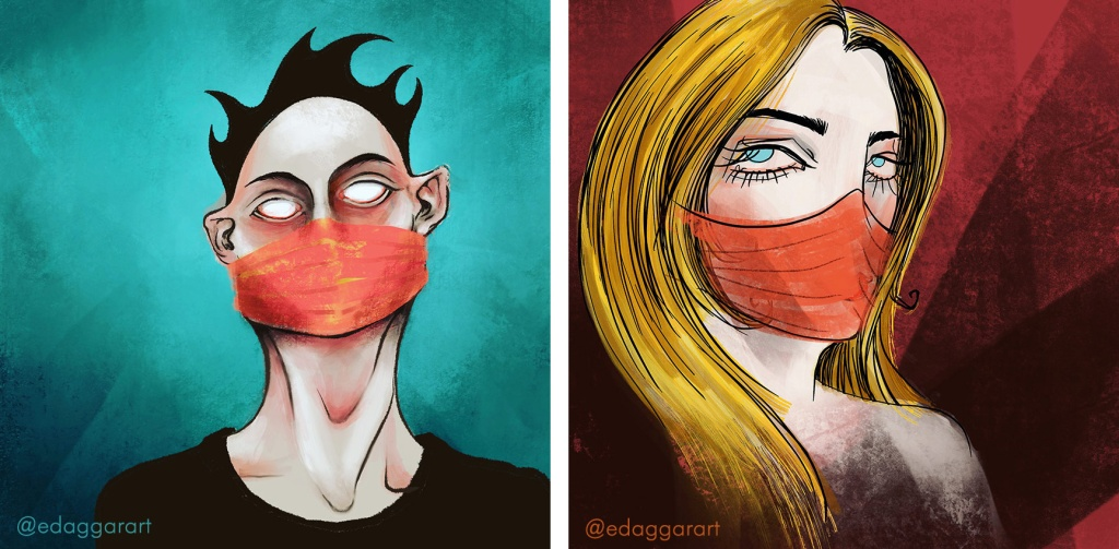 Two illustrations of people in masks