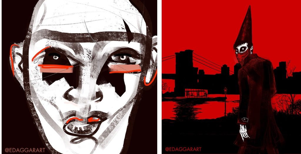 Two illustrations of people in masks, red and black, very intense