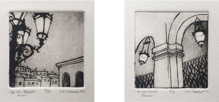 Two small prints from drypoint on plexigas