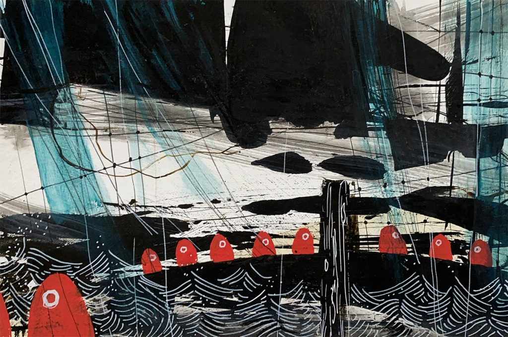 Acrylic painting of a line of red figures, the Ohms, marching across a causeway under stormy skies