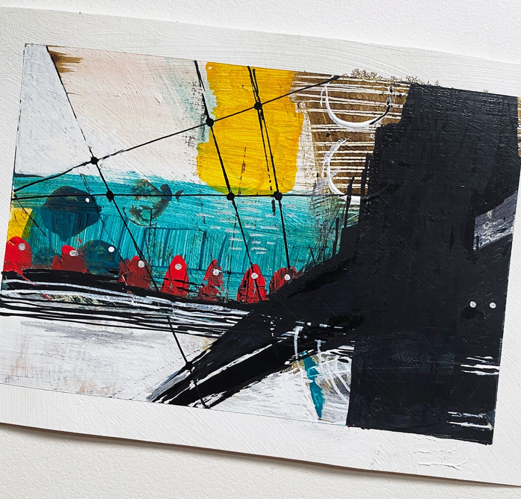 Acrylic painting on paper showing small red figured in an abstract landscape seen through ship rigging